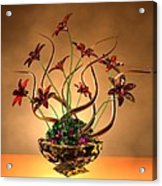 Gold Spirals Glass Flowers Acrylic Print