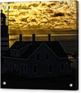 Golden Backlit West Quoddy Head Lighthouse Acrylic Print