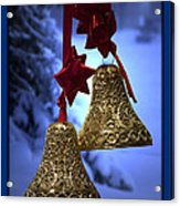 Golden Bells Blue Greeting Card Acrylic Print