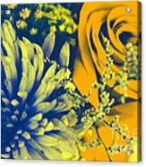 Golden Blossoms Pop Art Acrylic Print