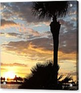Golden Clouds Over Tampa Bay Acrylic Print