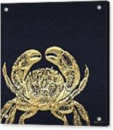 Golden Crab On Charcoal Black Acrylic Print