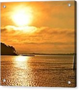 Golden Foggy Sunrise Colors On Santa Rosa Sound At Hurlburt Harbor Acrylic Print