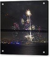 Golden Gate Bridge 75th Anniversary Fireworks With Bridge Silhouette Acrylic Print