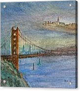 Golden Gate Bridge And Sailing Acrylic Print by Anais DelaVega