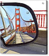 Golden Gate Bridge In Side View Mirror Acrylic Print