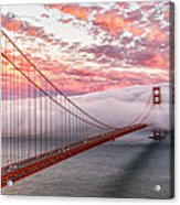 Golden Gate Bridge Sunset Evening Commute Acrylic Print