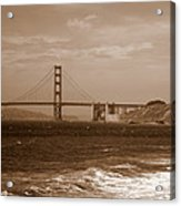 Golden Gate Bridge With Surf Sepia Acrylic Print
