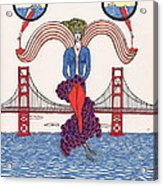 Golden Gate Lady And Wine Acrylic Print