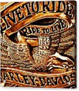Golden Harley Davidson Logo Acrylic Print