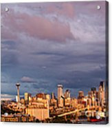 Golden Hour Reflected On Downtown Seattle And Space Needle - Seattle Washignton State Acrylic Print