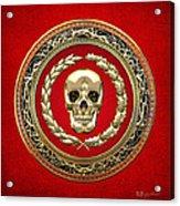Golden Human Skull On Red   Acrylic Print