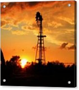 Golden Kansas Sunset With Windmill Acrylic Print