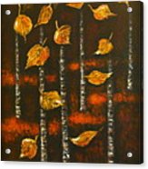 Golden Leaves 1 Acrylic Print by Elena  Constantinescu