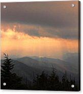 Golden Mountain Rays Acrylic Print