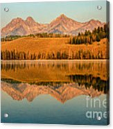 Golden Mountains  Reflection Acrylic Print