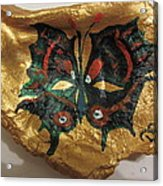 Golden Nugget Bird's Eye Butterfly On An Oyster Shell Acrylic Print