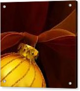 Golden Ornament With Red Ribbons Acrylic Print