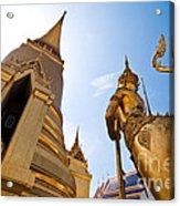 Golden Pagoda And Monster Acrylic Print