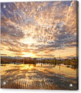 Golden Ponds Scenic Sunset Reflections 2 Acrylic Print