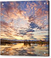 Golden Ponds Scenic Sunset Reflections 4 Acrylic Print