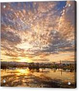 Golden Ponds Scenic Sunset Reflections 5 Acrylic Print