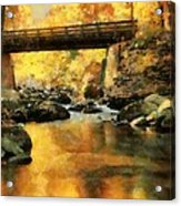 Golden Reflection Autumn Bridge Acrylic Print