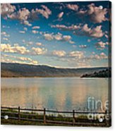 Golden Reflection On Lake Cascade Acrylic Print by Robert Bales
