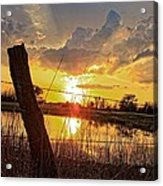 Golden Reflection With A Fence Acrylic Print by Robert D  Brozek
