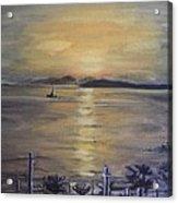 Golden Sea View Acrylic Print