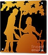 Golden Silhouette Garden Proposal Will You Marry Me Acrylic Print