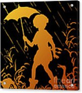 Golden Silhouette Of Child And Geese Walking In The Rain Acrylic Print