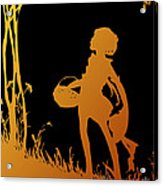 Golden Silhouette Of Child With Basket Walking In The Woods Acrylic Print