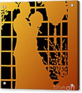 Golden Silhouette Of Couple Embracing Acrylic Print