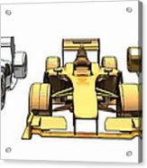 Golden Silver Bronze Race Car Color Sketch Acrylic Print