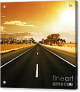 Golden Sky And Road Acrylic Print by Boon Mee