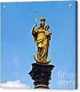 Golden Statue Of The Virgin Mary In Munich Germany Acrylic Print