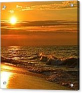 Golden Sunrise Colors With Waves And Horizon Clouds On Navarre Beach Acrylic Print