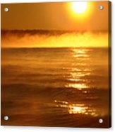 Golden Sunrise Over The Water Acrylic Print