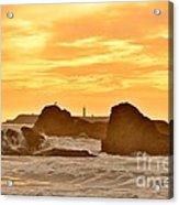 Golden Sunset At Ruby Beach Acrylic Print