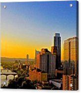 Golden Sunset In Austin Texas Acrylic Print