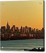 Golden Sunset On Nyc Skyline Acrylic Print