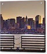 Golden Sunset Over Boston Acrylic Print