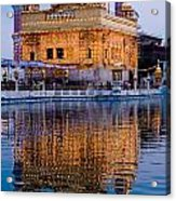 Golden Temple With Reflection Acrylic Print
