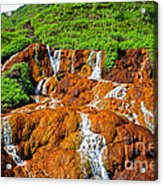Golden Waterfall Landscape  Acrylic Print
