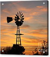 Golden Windmill Silhouette Acrylic Print