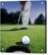 Golf Ball Near Cup Acrylic Print