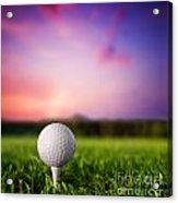 Golf Ball On Tee At Sunset Acrylic Print by Michal Bednarek