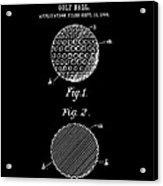 Golf Ball Patent 1906 - Black Acrylic Print