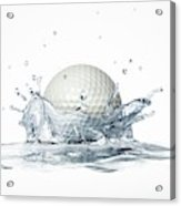 Golf Ball Splashing Into Water Acrylic Print